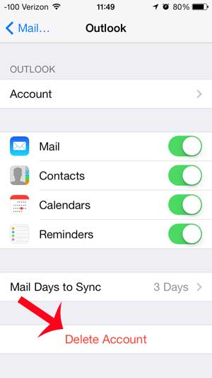 mail account iphone