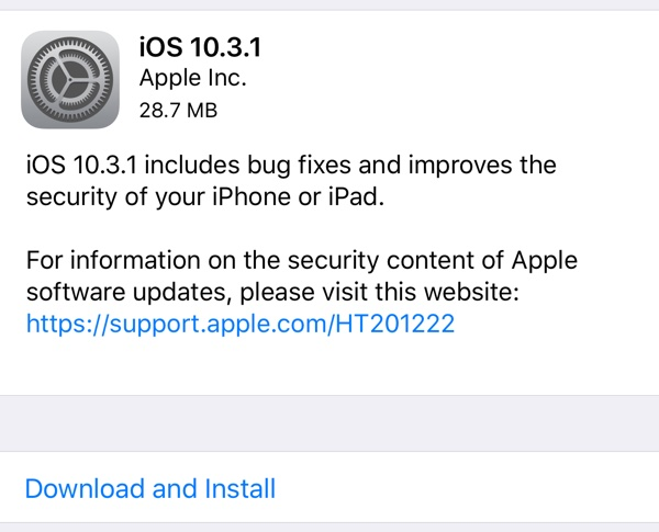 update to ios 10.3