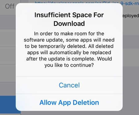 insufficient storage for ios 11 download