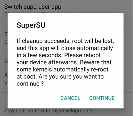 continue unroot