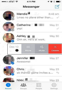 delete messenger conversation on ios