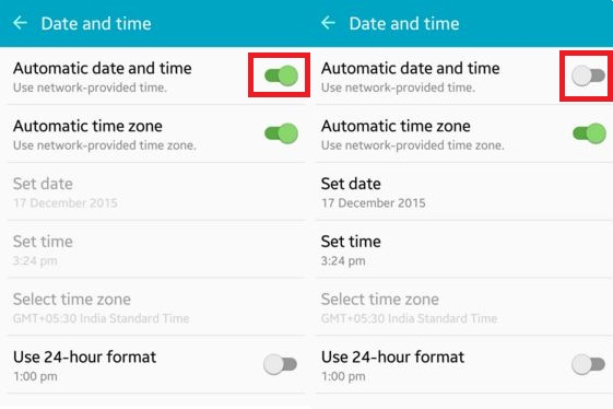 "Select ""Automatic date and time"""