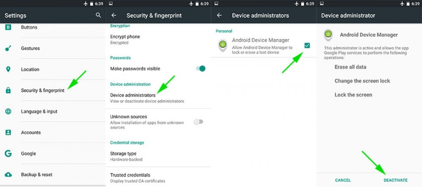 "find ""Android device manager"""
