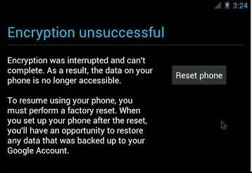 encryption unsuccessful
