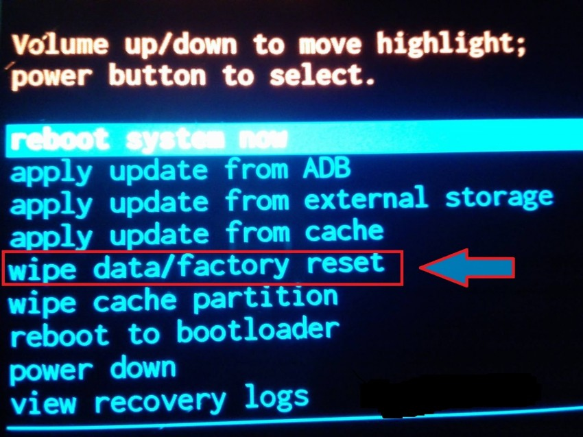 "select ""Factory data reset"""
