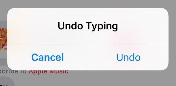 shake to undo typing