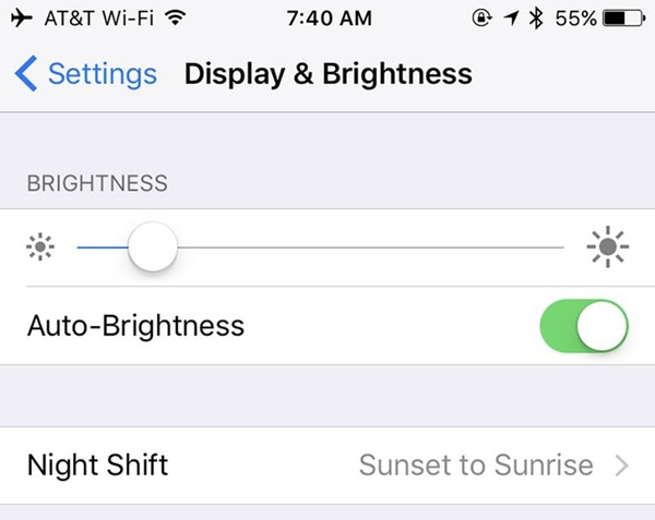turn on auto-brightness