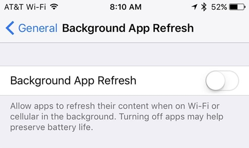 turn off background refresh