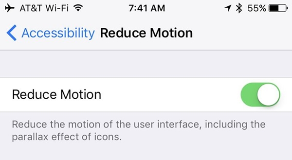 reduce motion and animations