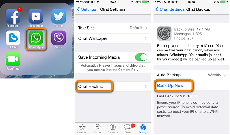 How to Backup Whatsapp messages to iphone-Manually