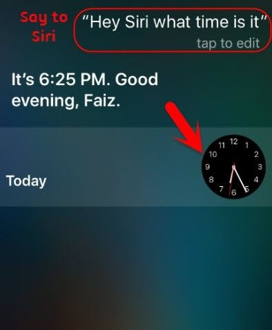 ask siri the time
