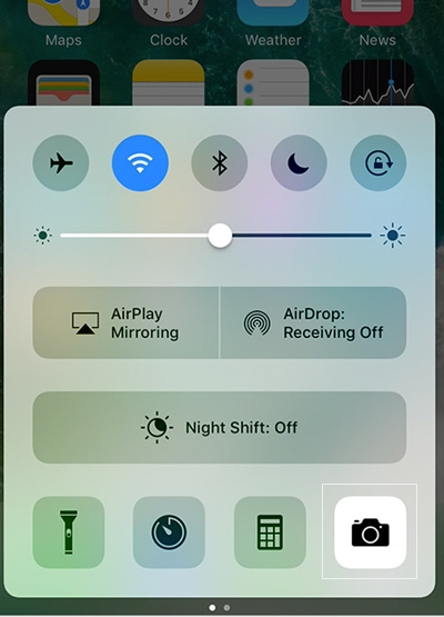 iphone lock screen-open the Control Center