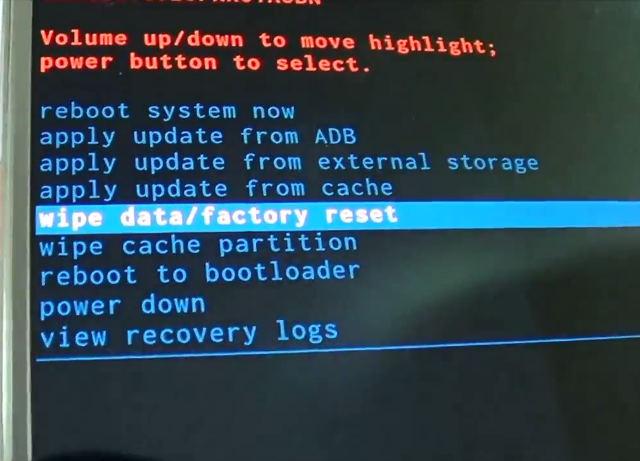 effacer les données/réinitialisation d'usine