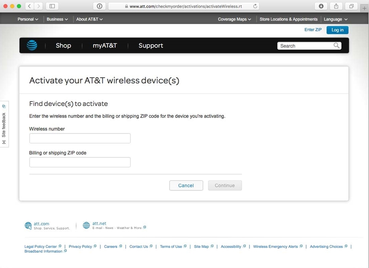 att web based activation tool