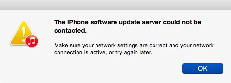 fixiPhone software update server could not be contacted