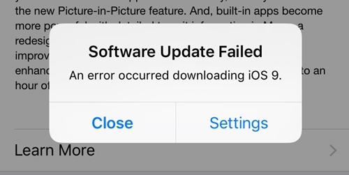 software update failed