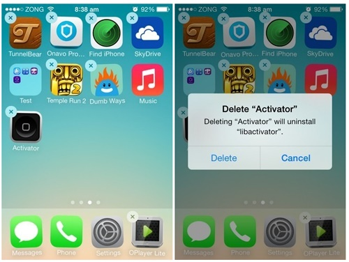 fix iphone blue screen - delete iphone app