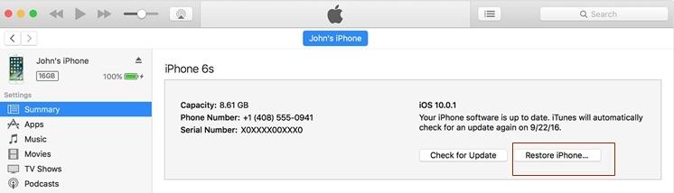 fix iphone blue screen - restore iphone in itunes