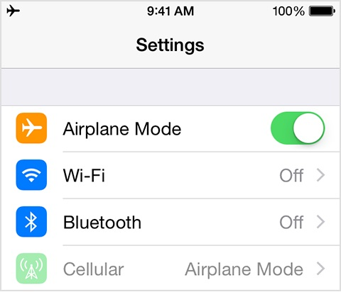 turn off iphone airplane mode from settings