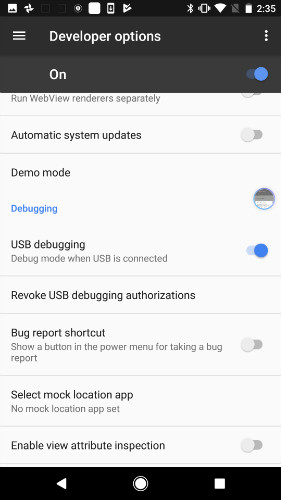 enable usb debugging on google nexus - step 1