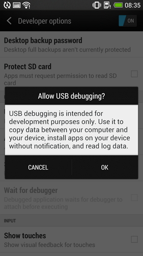 enable usb debugging on htc one - step 4