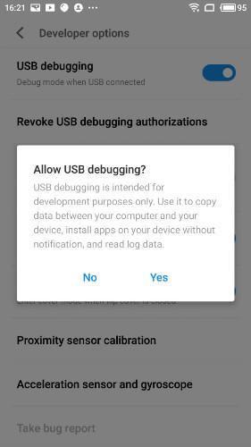 enable usb debugging on meizu pro - step 1