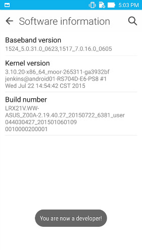 enable usb debugging on asus zenfone - step 1