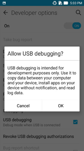 enable usb debugging on asus zenfone - step 1