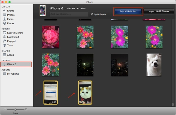 import iphone videos to mac using iphoto