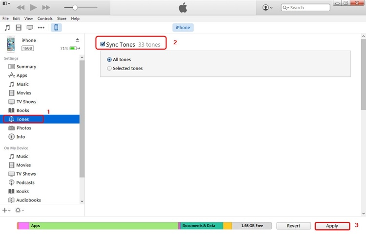 sync ringtones using itunes - step 1