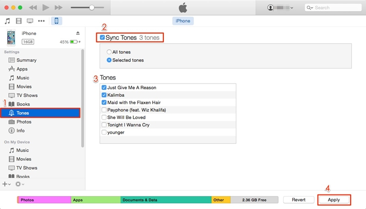 sync ringtones using itunes - step 3