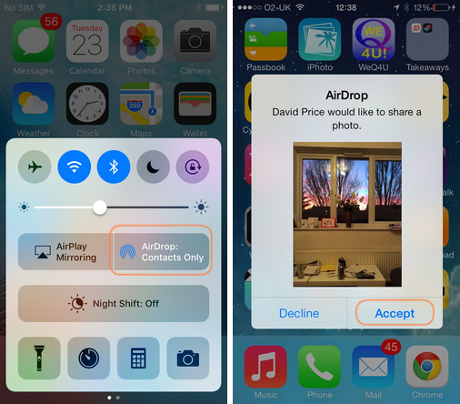 transfer iphone photos to ipad using airdrop