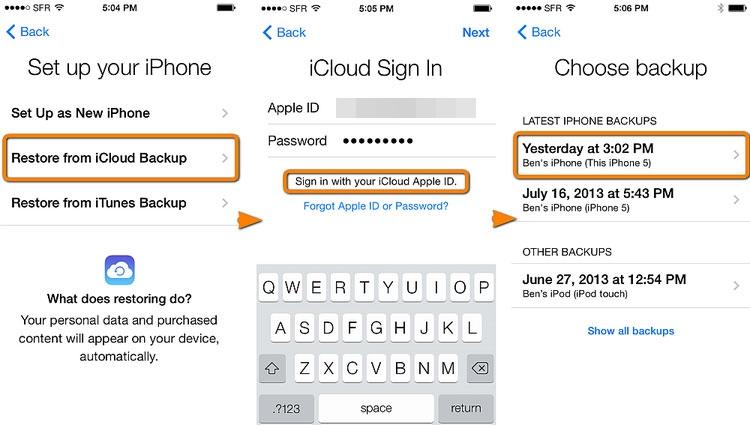 Wiederherstellen eines iCloud-Backups