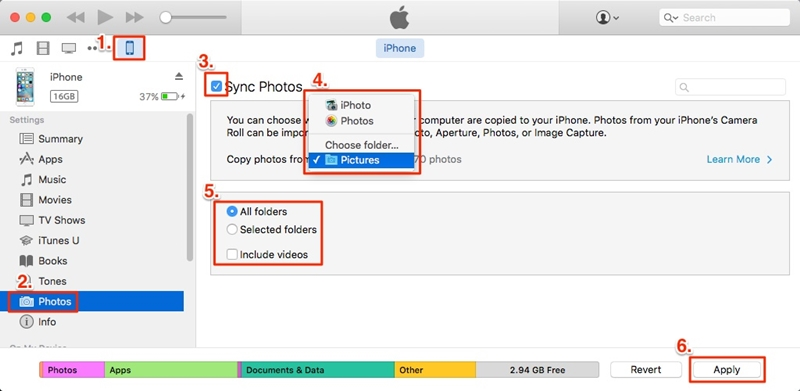 sync photos with itunes