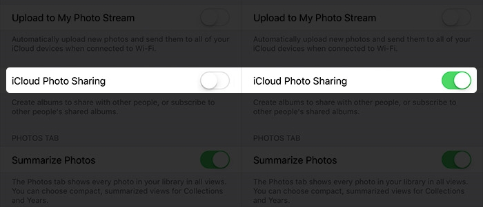 icloud photo sharing on iphone