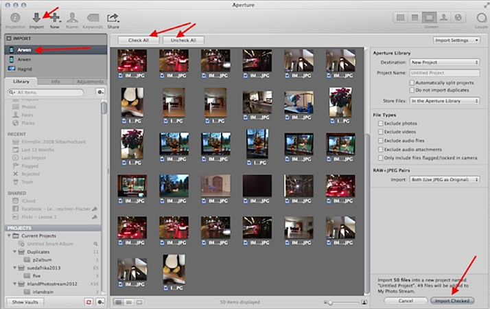 transfer iphone photos to mac using aperture