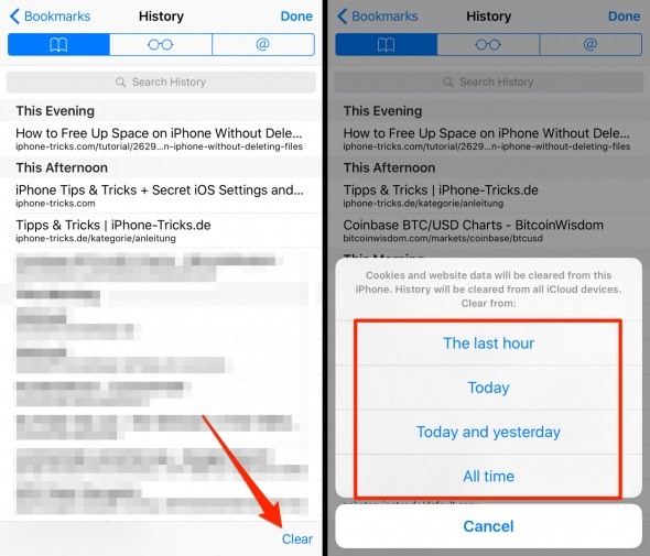 how to clear browsing history on iphone 6 plus