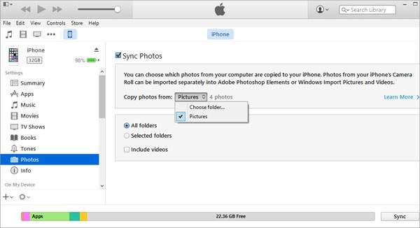 sync photos using itunes