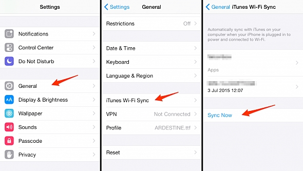 how to backup iphone-itunes wifi sync