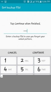 setup android pattern lock screen-provide a security pin