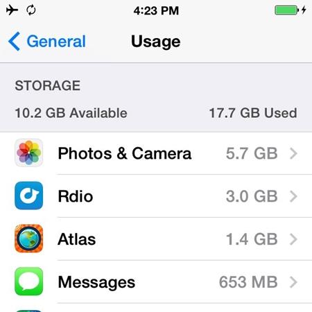 utilisation du stockage iphone