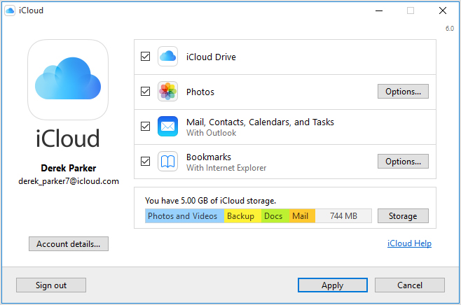 icloud on windows 7