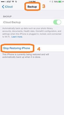 wiederherstellung des iPhones stoppen