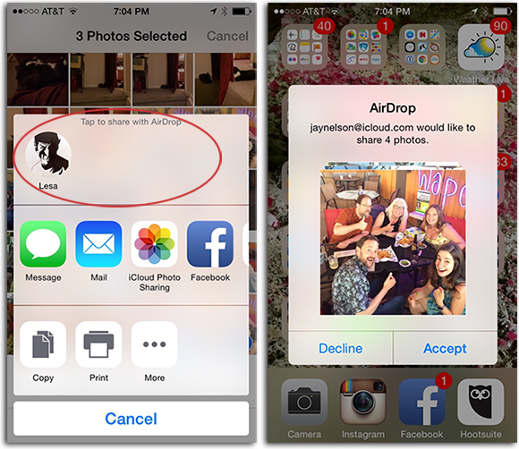 Send Pictures from iPhone to iPhone X with AirDrop