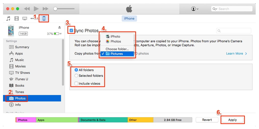 sync photos from iPhone to iPhone with iTunes