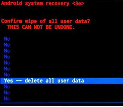 factory reset wipe data