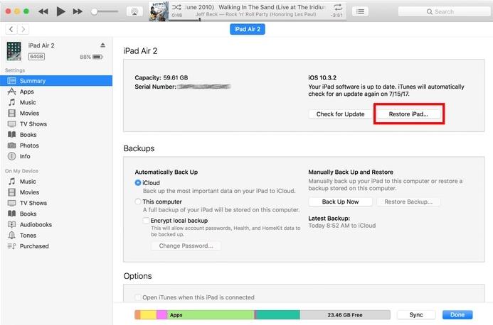 iPad mit iTunes wiederherstellen