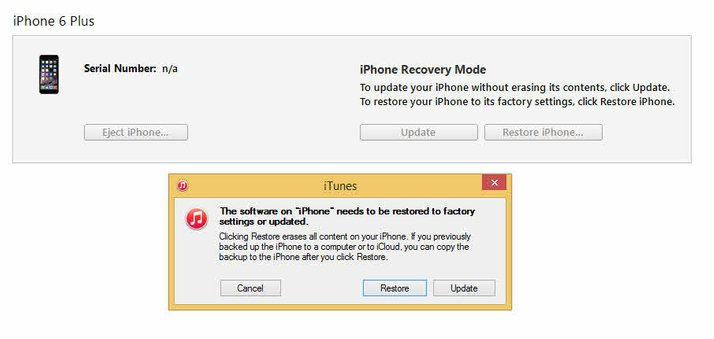 "Restore iPhone/iPad/iPod from DFU Mode-click on ""Restore iPhone"""