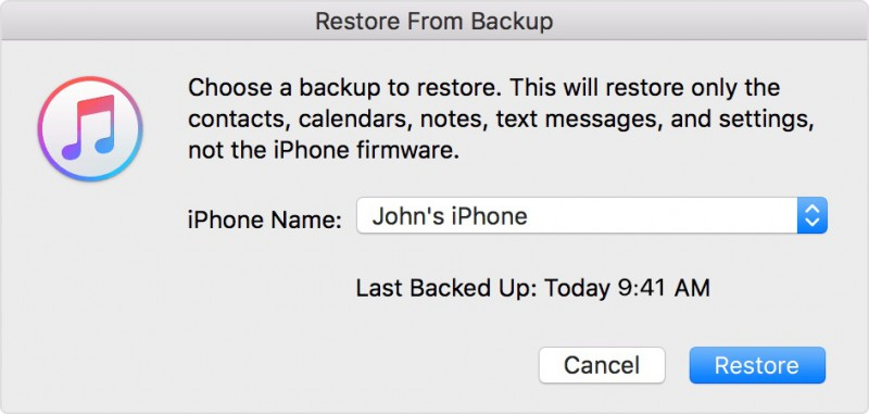 restore a backup file via iTunes