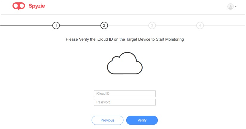 monitor phone activity with Spyzie-fill in iCloud account details